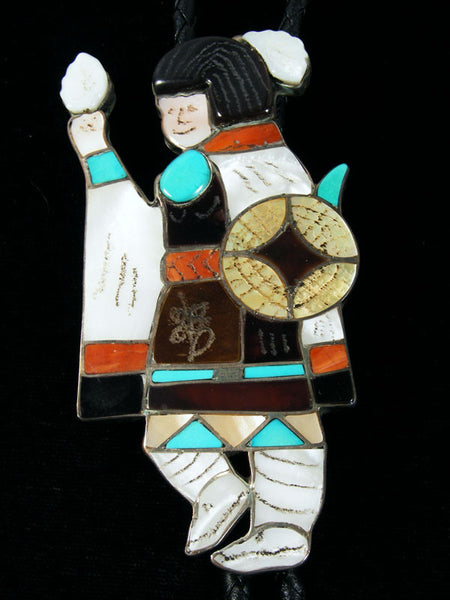 Old Pawn Indian Jewelry Sterling Silver Zuni Inlay Bolo Tie by Joe Zunie - PuebloDirect.com - 1