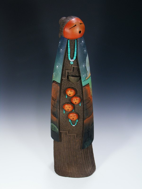 Large Navajo Clay Mother 4 Baby Pottery Sculpture