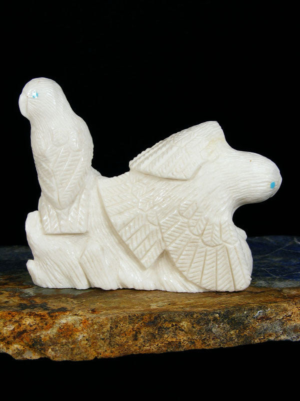 White Marble Bird Family Zuni Fetish by Destry Siutza - PuebloDirect.com - 1