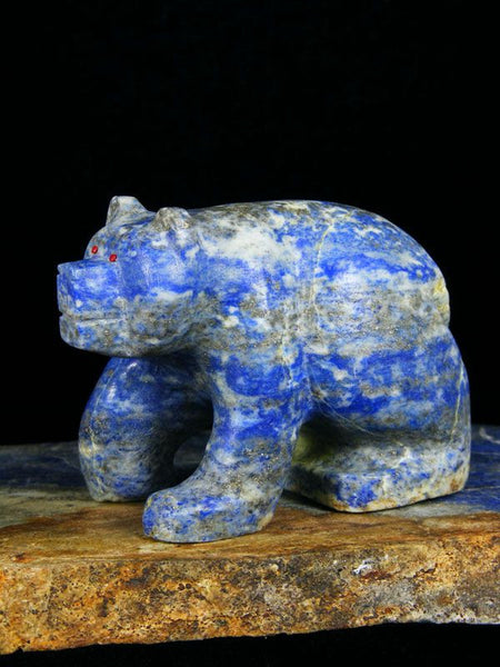 Lapis Bear Zuni Fetish by Brion Hattie - PuebloDirect.com - 1