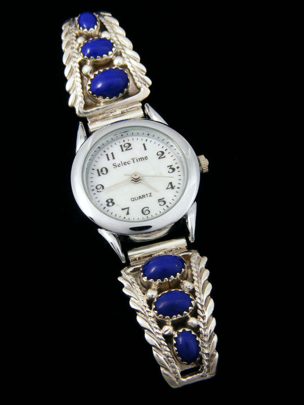 Native American Indian Lapis Ladies' Watch by Navajo Artist - PuebloDirect.com