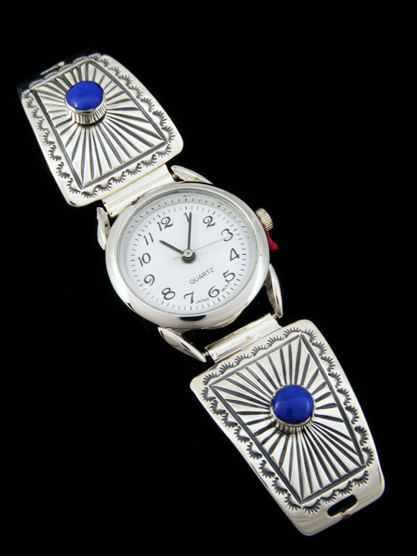 Native American Indian Jewelry Sterling Silver Inlay Ladies' Watch by Navajo Artist - PuebloDirect.com