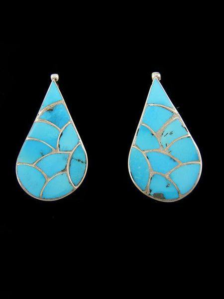 Zuni Inlay Earrings by Carmichael Haloo - PuebloDirect.com