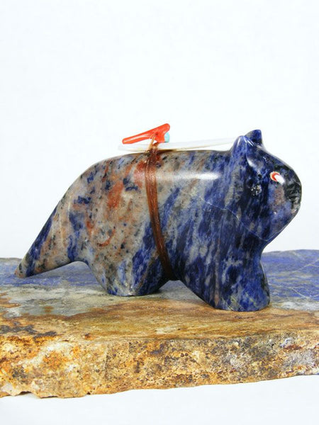 Sodalite Mountain Lion Zuni Fetish by Leland Boone - PuebloDirect.com - 1