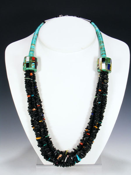 Santo Domingo Multi-Strand Jet and Turquoise Necklace