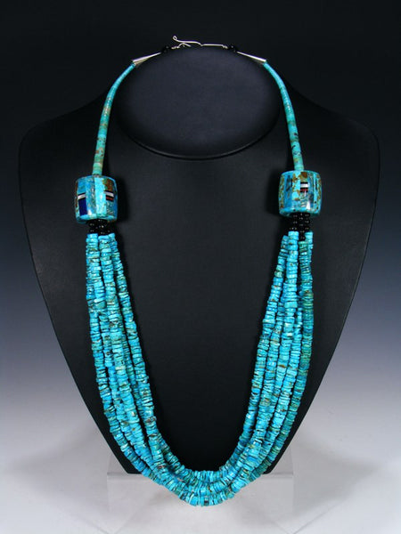 Santo Domingo Multi-Strand Kingman Turquoise Necklace