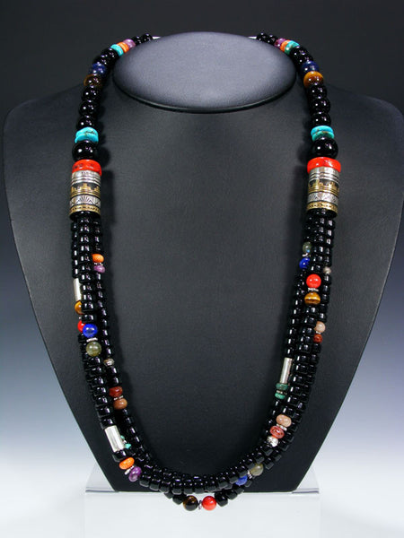 Onyx Multistrand Necklace by Tommy Singer - PuebloDirect.com - 1
