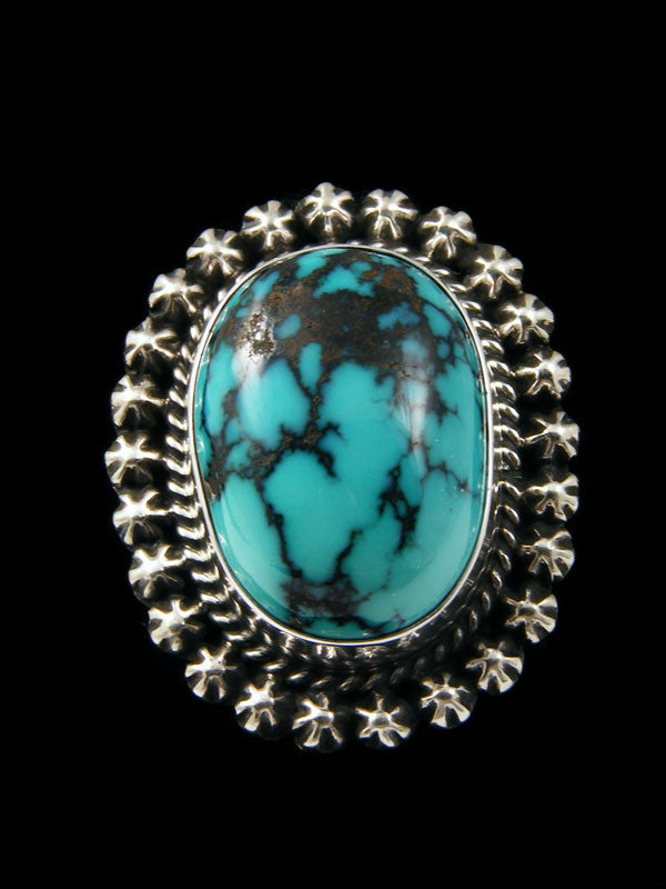 Natural Hubei Turquoise Ring by Navajo Artist - PuebloDirect.com - 1