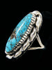 Natural Candelaria Turquoise Ring by Navajo Artist - PuebloDirect.com - 2