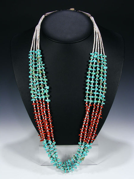 Native American Santo Domingo Turquoise and Coral Necklace by Angelina Coriz - PuebloDirect.com - 1