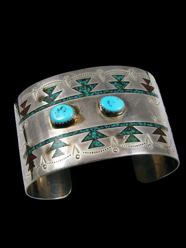 Old Pawn Indian Sterling Silver Chip Inlay Bracelet by E Tsosie - PuebloDirect.com - 1