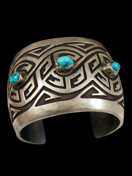 Old Pawn Hopi Overlay Bracelet by Vintage Jewelry - PuebloDirect.com - 1