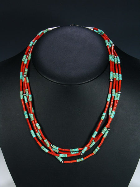 Vintage Native American Santo Domingo Turquoise & Coral Necklace