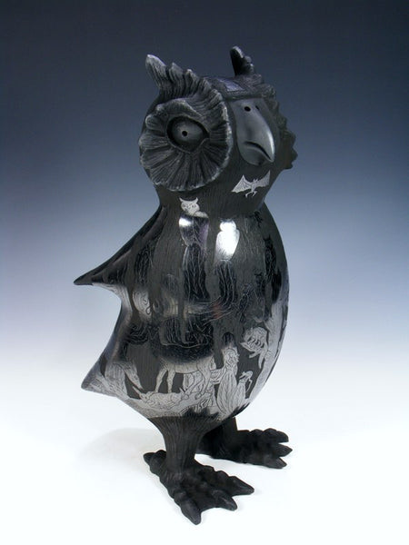 Mata Ortiz Hand Coiled Black Pottery Owl Effigy