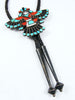 Old Pawn Indian Jewelry Zuni Inlay Bolo Tie by Frank Vacit - PuebloDirect.com - 2