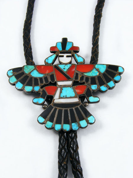 Old Pawn Indian Jewelry Zuni Inlay Bolo Tie by Frank Vacit - PuebloDirect.com - 1