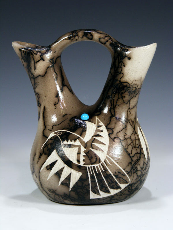 Horsehair Pottery Small Wedding Vase by Tom Vail - PuebloDirect.com