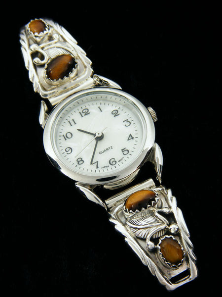 Native American Indian Tiger Eye Ladies' Watch by Navajo Artist - PuebloDirect.com