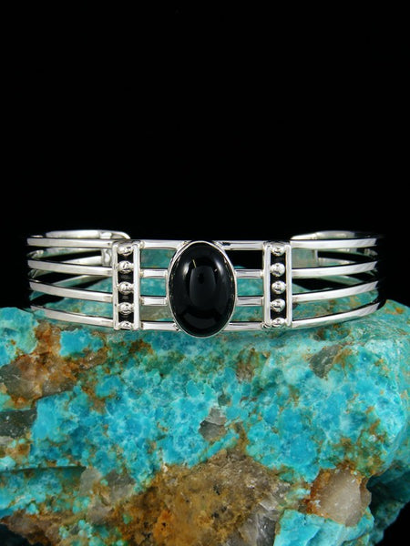 Native American Sterling Silver Black Onyx Bracelet
