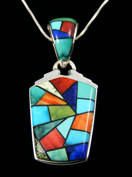 Reversible Inlay Pendant by Calvin Begay - PuebloDirect.com - 1