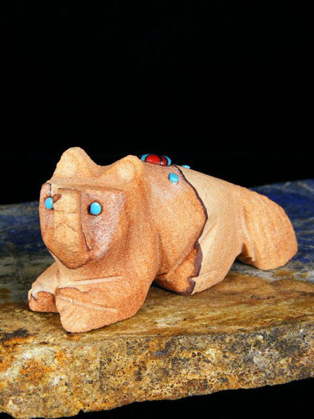 Sandstone Wolf Zuni Fetish by Danette Laate - PuebloDirect.com - 1
