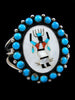 Old Pawn Indian Zuni Inlay Ghan Dancer Bracelet by T J V - PuebloDirect.com - 1
