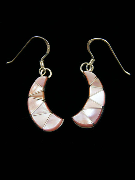 Zuni Pink Shell Inlay Earrings by E C - PuebloDirect.com
