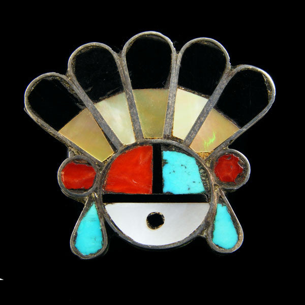 Zuni Inlay Sunface Ring by Vintage Jewelry - PuebloDirect.com - 1