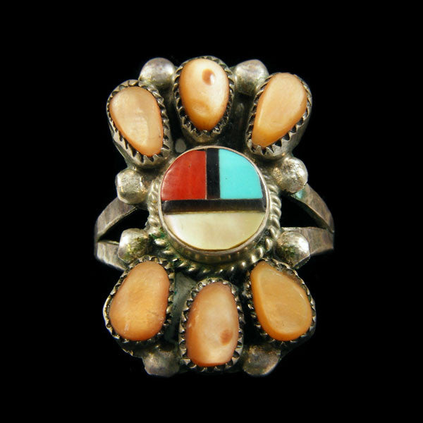 Zuni Sunface Inlay Ring by Ernest Zunie - PuebloDirect.com