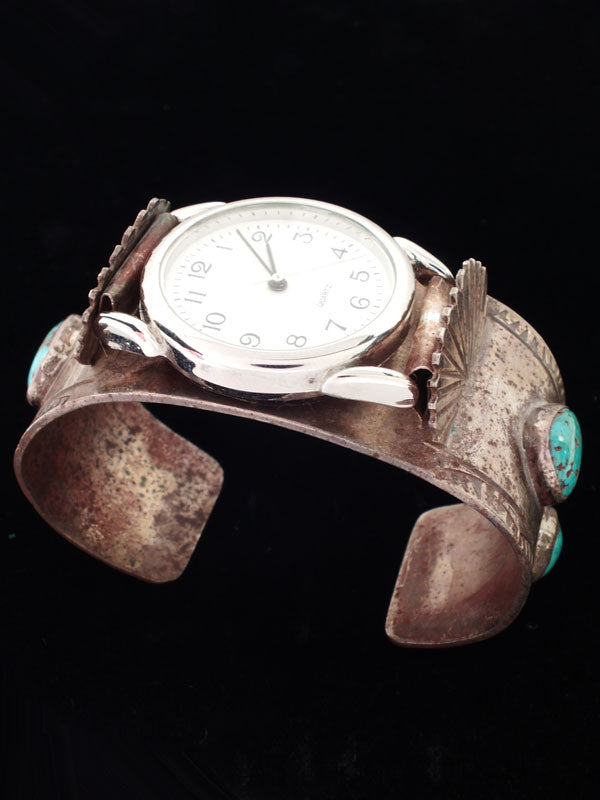 Old Pawn Indian Jewelry Turquoise Cuff Watch by Vintage Jewelry - PuebloDirect.com - 1