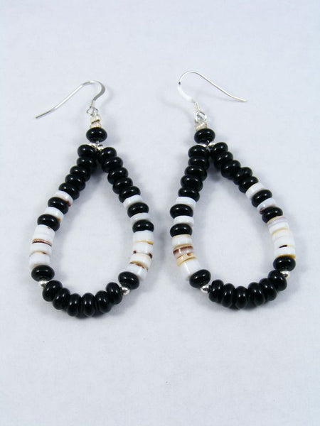 Onyx and Shell Bead Earrings