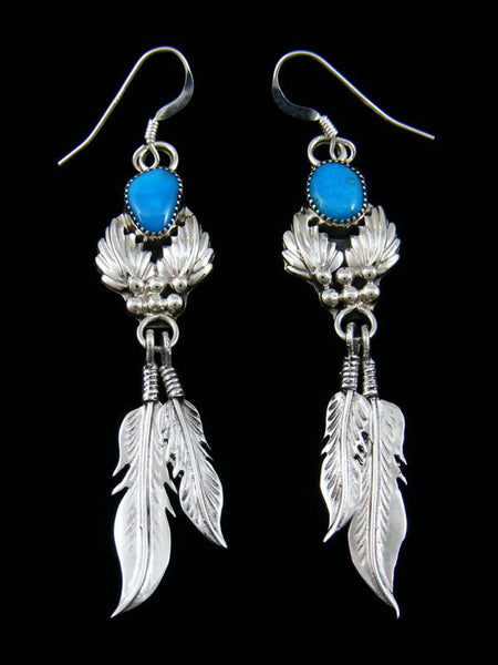Double Feather Dangle Turquoise Earrings