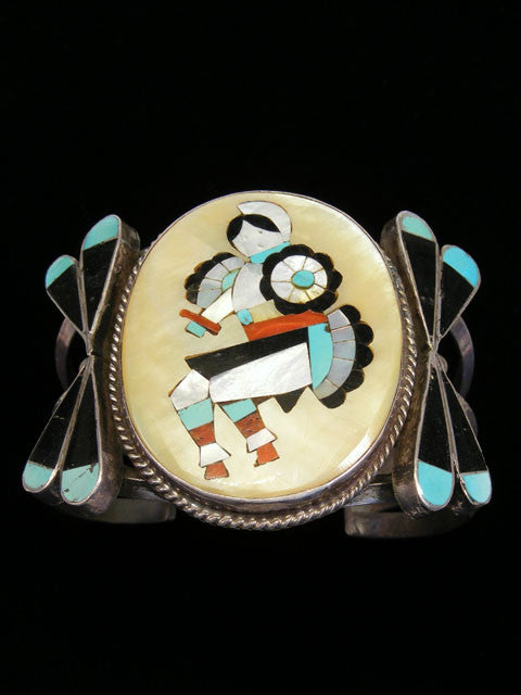 Old Pawn Indian Zuni Inlay Bracelet by Vintage Jewelry - PuebloDirect.com - 1