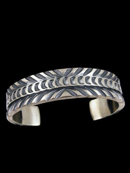 Native American Stamped Sterling Silver Bracelet by Jerald Tahe - PuebloDirect.com