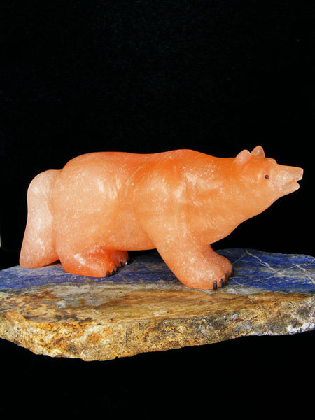 Orange Alabaster Wolf Zuni Fetish by Fred Bowannie - PuebloDirect.com - 1