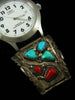 Old Pawn Zuni Indian Turquoise and Coral Watch by Wayne Cheama - PuebloDirect.com - 2