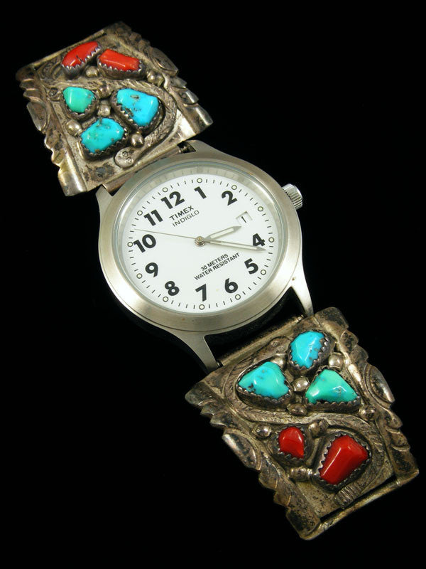 Old Pawn Zuni Indian Turquoise and Coral Watch by Wayne Cheama - PuebloDirect.com - 1