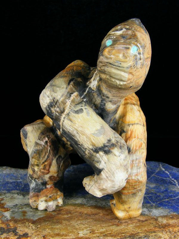Egyptian Marble Gorilla Zuni Fetish by Herbert Him Jr - PuebloDirect.com - 1