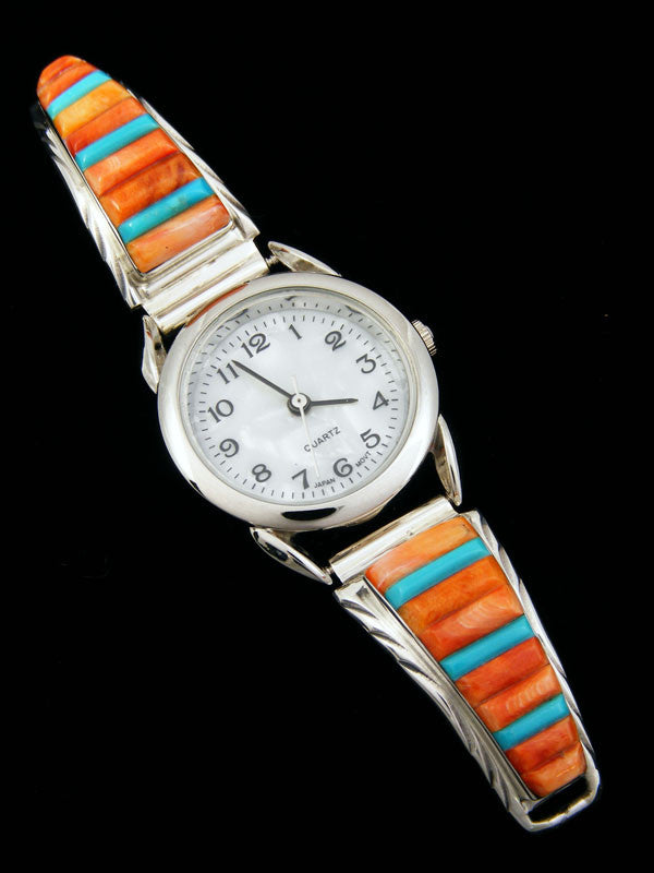 Native American Indian Jewelry Sterling Silver Ladies' Watch by Navajo Artist - PuebloDirect.com