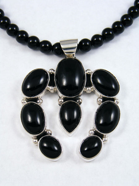 Black Onyx Naja Silver Bead Necklace
