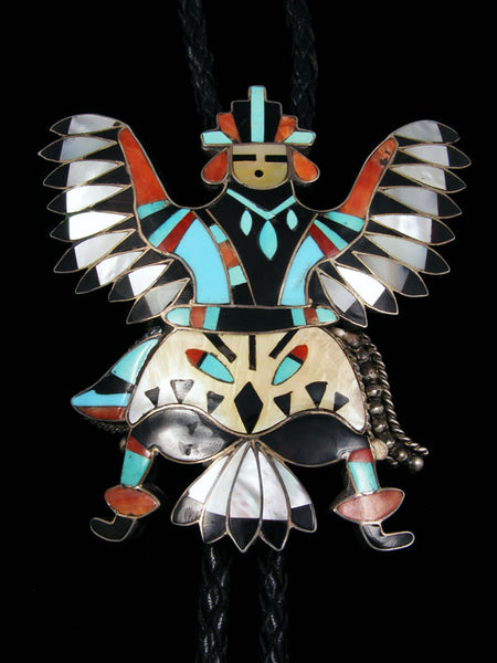 Old Pawn Indian Jewelry Zuni Inlaid Bolo Tie by Louis B Chavez - PuebloDirect.com - 1