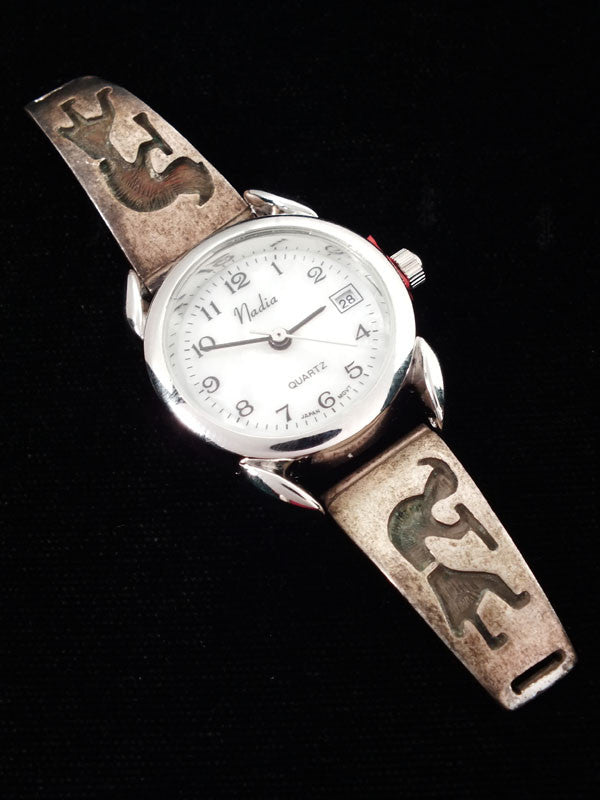 Old Pawn Indian Jewelry Hopi Overlay Watch Tips by Vintage Jewelry - PuebloDirect.com