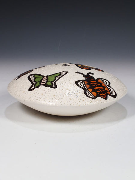 Acoma Pueblo Pottery Butterfly Seed Pot by Thomas Vallo - PuebloDirect.com - 1