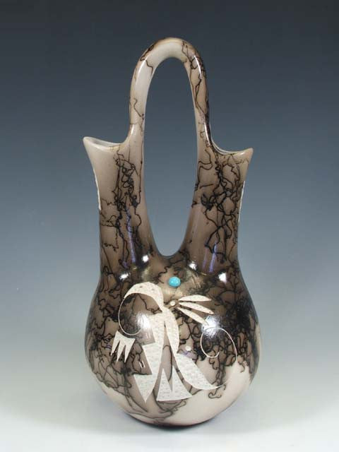 Horsehair Pottery High Loop Wedding Vase by Tom Vail - PuebloDirect.com