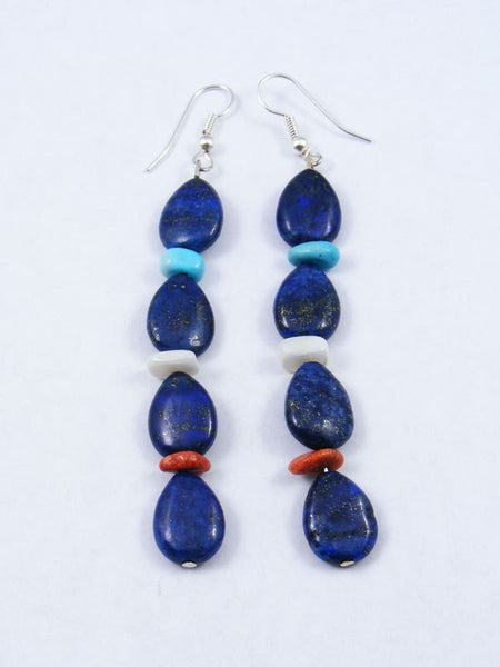 Turquoise and Lapis Santo Domingo Dangle Earrings