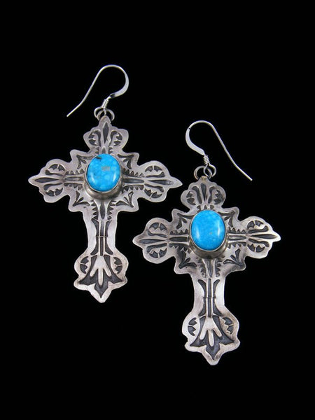 Navajo Sterling Silver Turquoise Dangle Cross Earrings