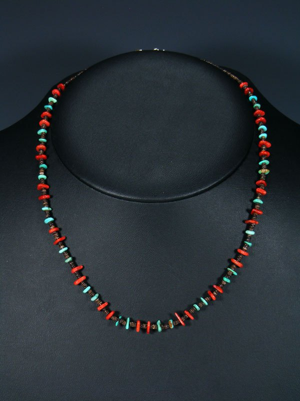 Native American Coral and Turquoise Necklace