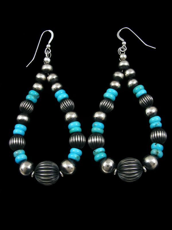 Turquoise and Sterling Silver Bead Earrings by Navajo Artist - PuebloDirect.com