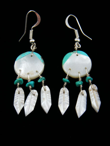 Mother of Pearl and Turquoise Inlay Dreamcatcher Earrings