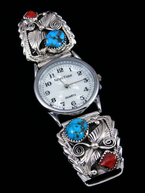 Native American Indian Jewelry Sterling Silver Turquoise and Coral Men's Watch